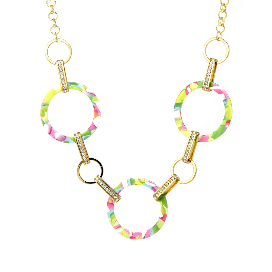 Acetate Hoop With Rhinestone Pave Bar Linked Short Necklace