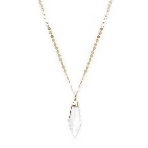 Gold Dipped Glass Crystal Pendant Long Necklace