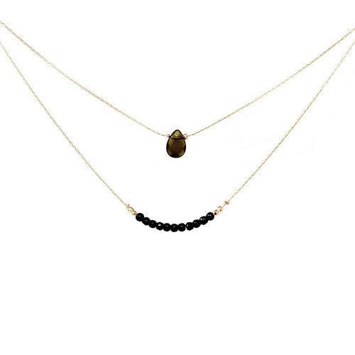 Double Layer Natural Stone Charm Neckace
