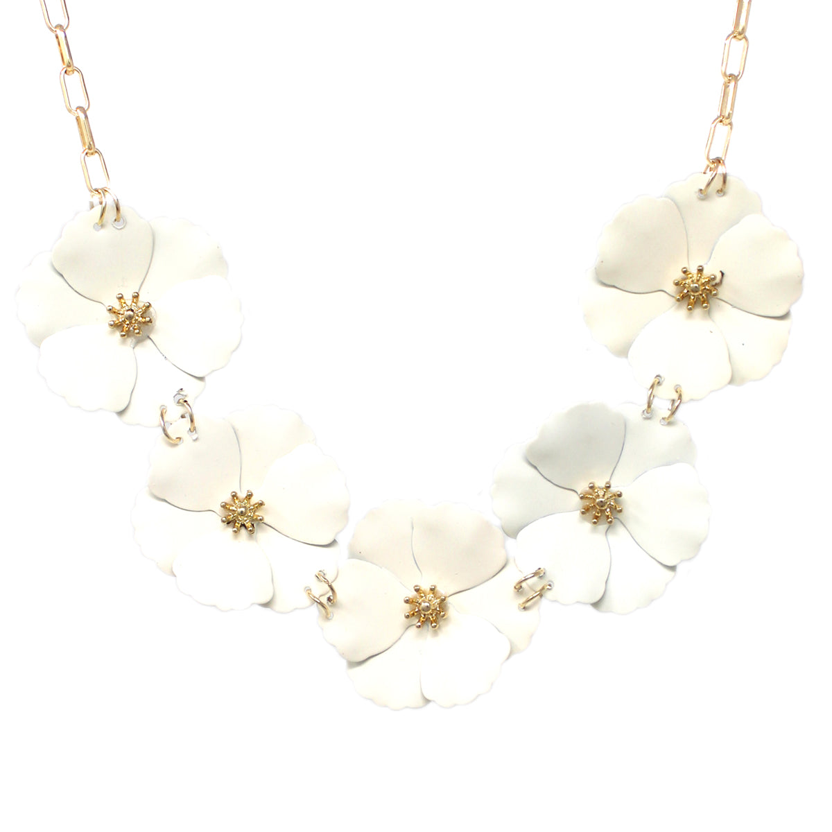 Color Coated Flower Statement Short Necklace