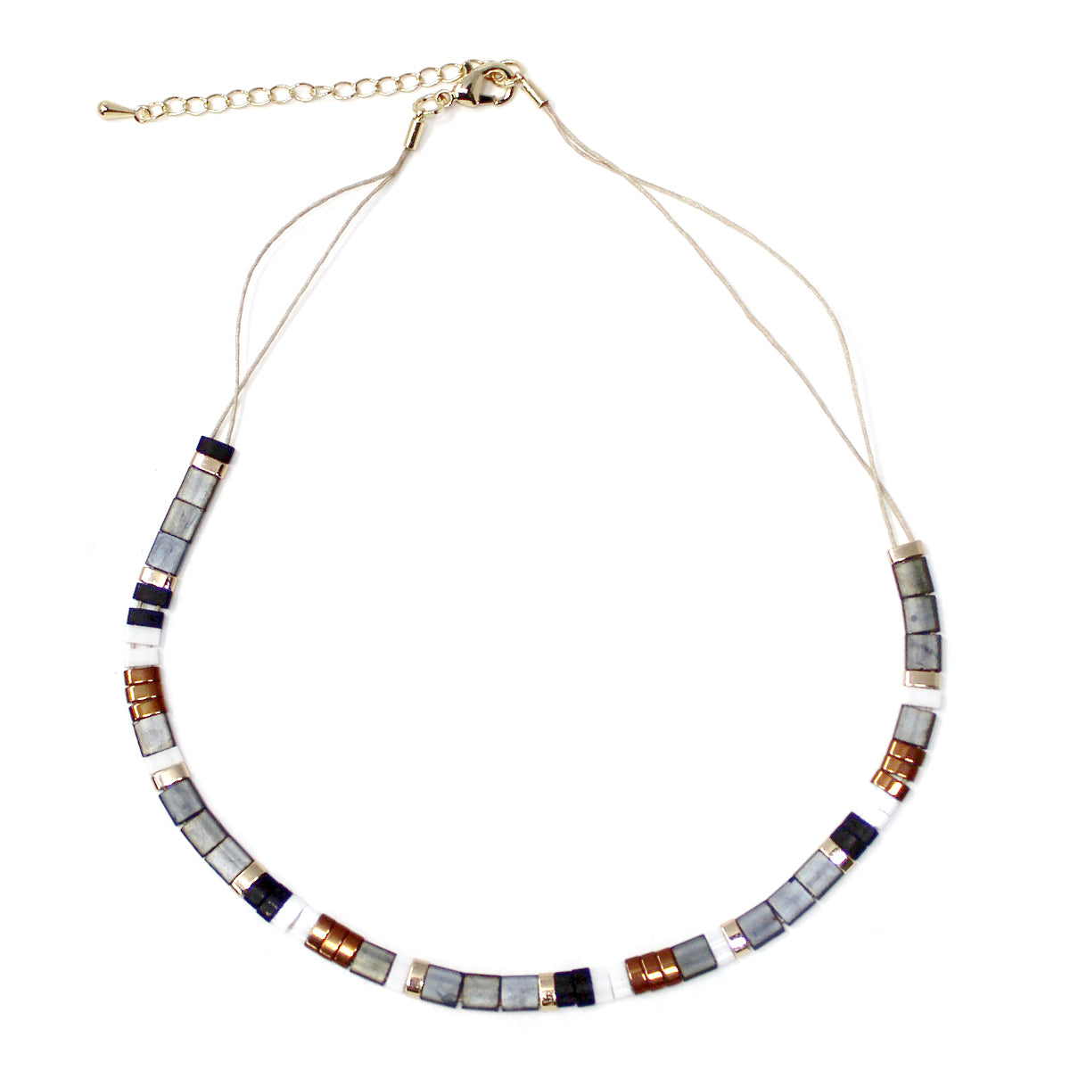 Color Block Beaded Short Necklace