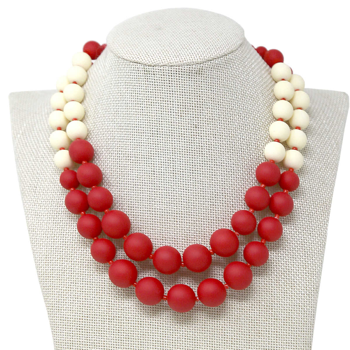 Rubber Coat Beaded Double Layered Short Necklace
