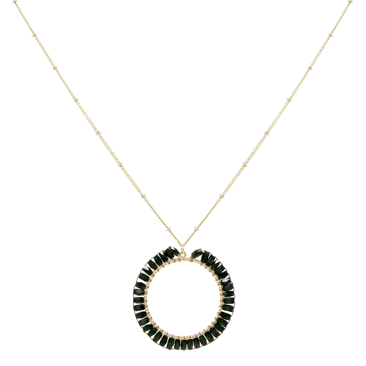 Faceted Tube Glass Beaded Hoop Pendant Long Necklace