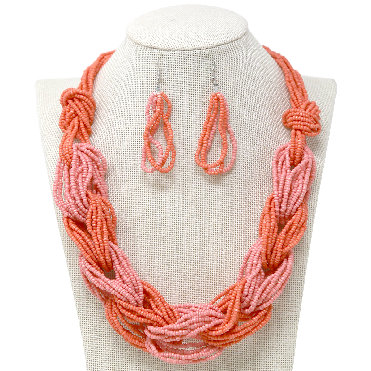 Multi Seed Beaded Strand Linked Short Necklace