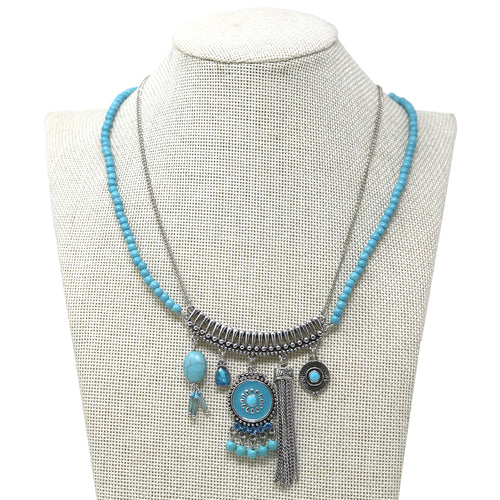 Metal Tribal Charms with Ball Bead Layered Short Necklace