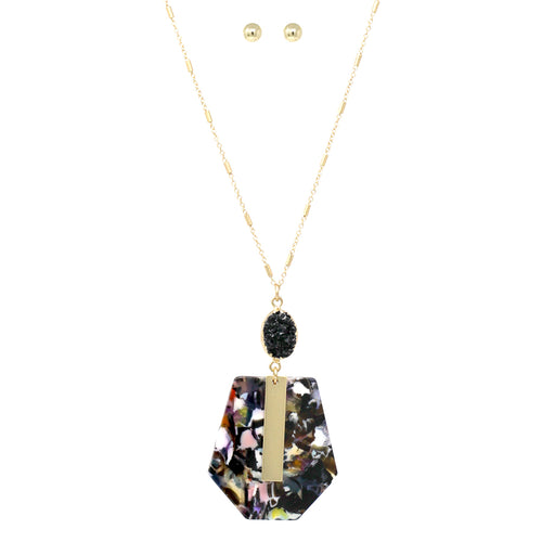 Druzy Stone With Geometric Acetate Pendant Long Necklace