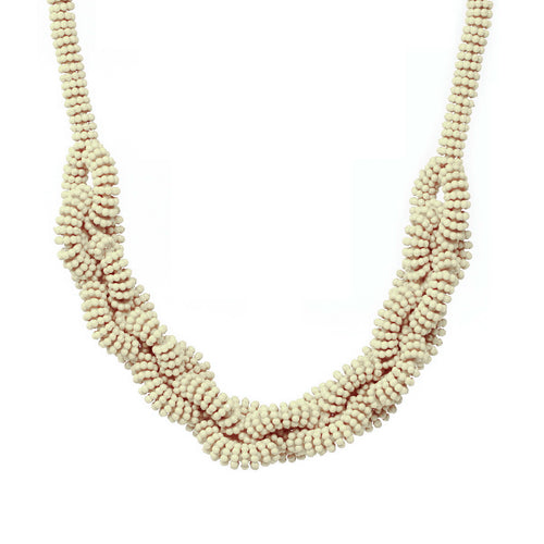 Chunky Beaded Look Stretching Link Short Necklace