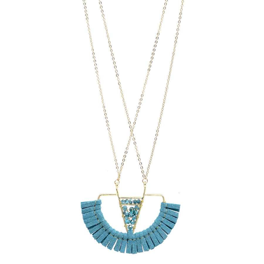 Glass Bead With Faux Leather Fringe Fan Shaped Pendant Long Necklace