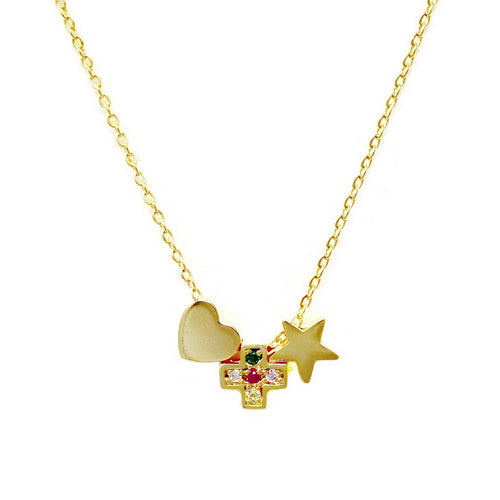 Heart / Cross / Star Sliding Charm Simple Chain Necklace