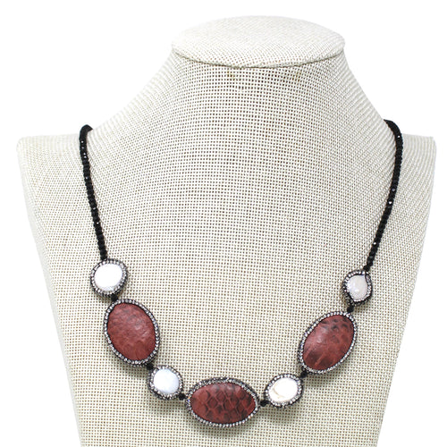 Glass Stone Pave Freshwater Pearl And Snake Skin With Glass Beaded Necklace