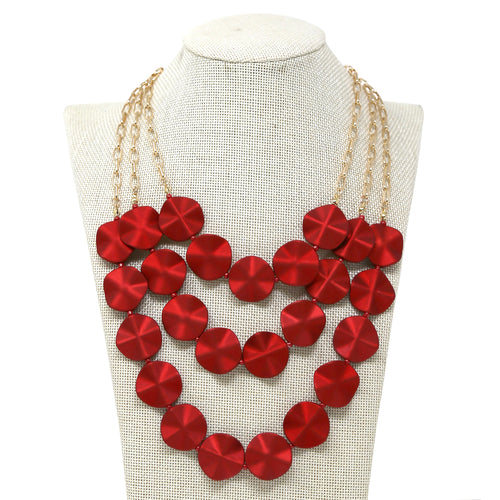 Matte Color Finish Petal Beaded Triple Layer Necklace