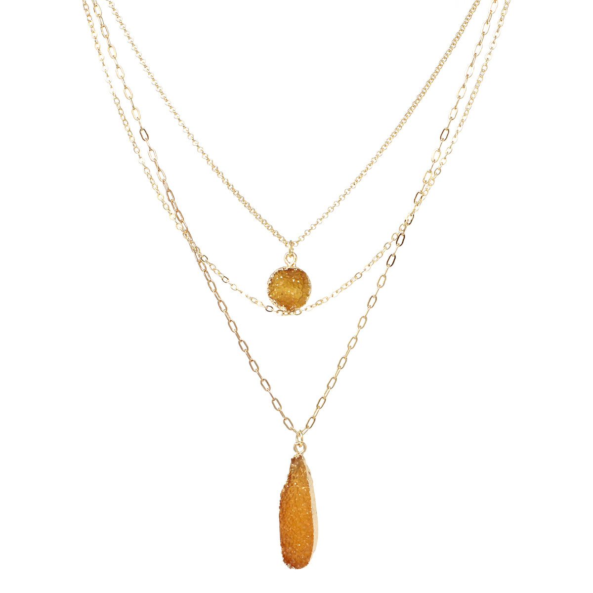 Round/ Teardrop Druzy Stone Pendant Triple Layered Necklace