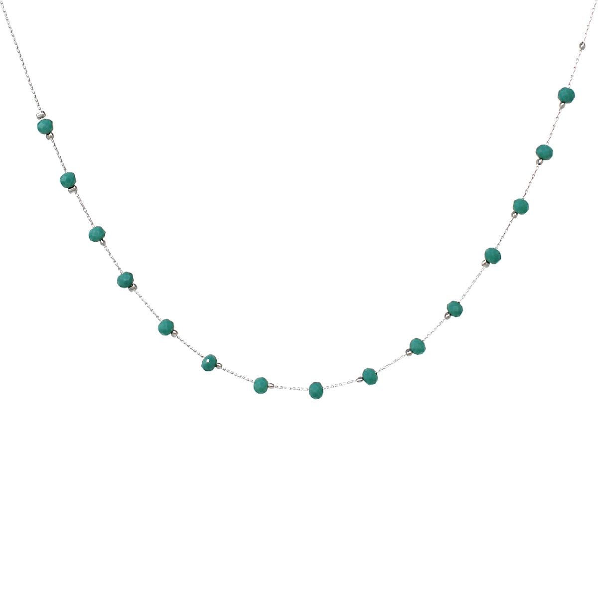 Glass Bead Floating Short Necklace