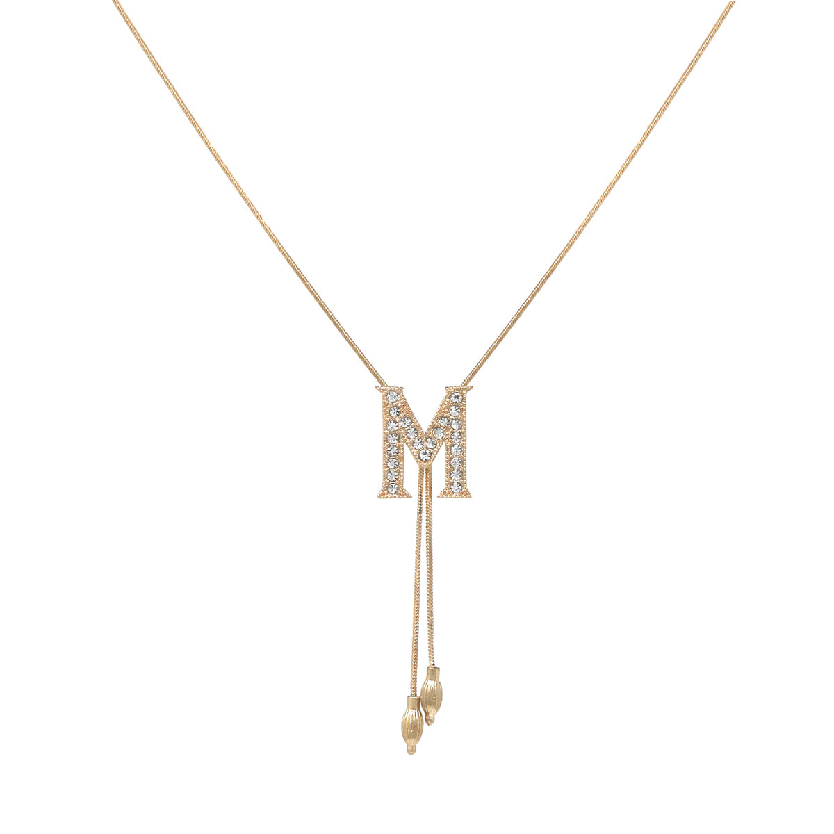 M Glass Paved Sliding Initial Pendant Necklace