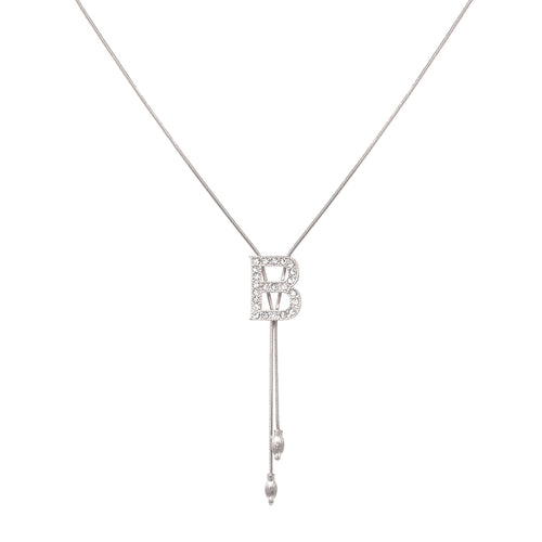 B Glass Paved Sliding Initial Pendant Necklace