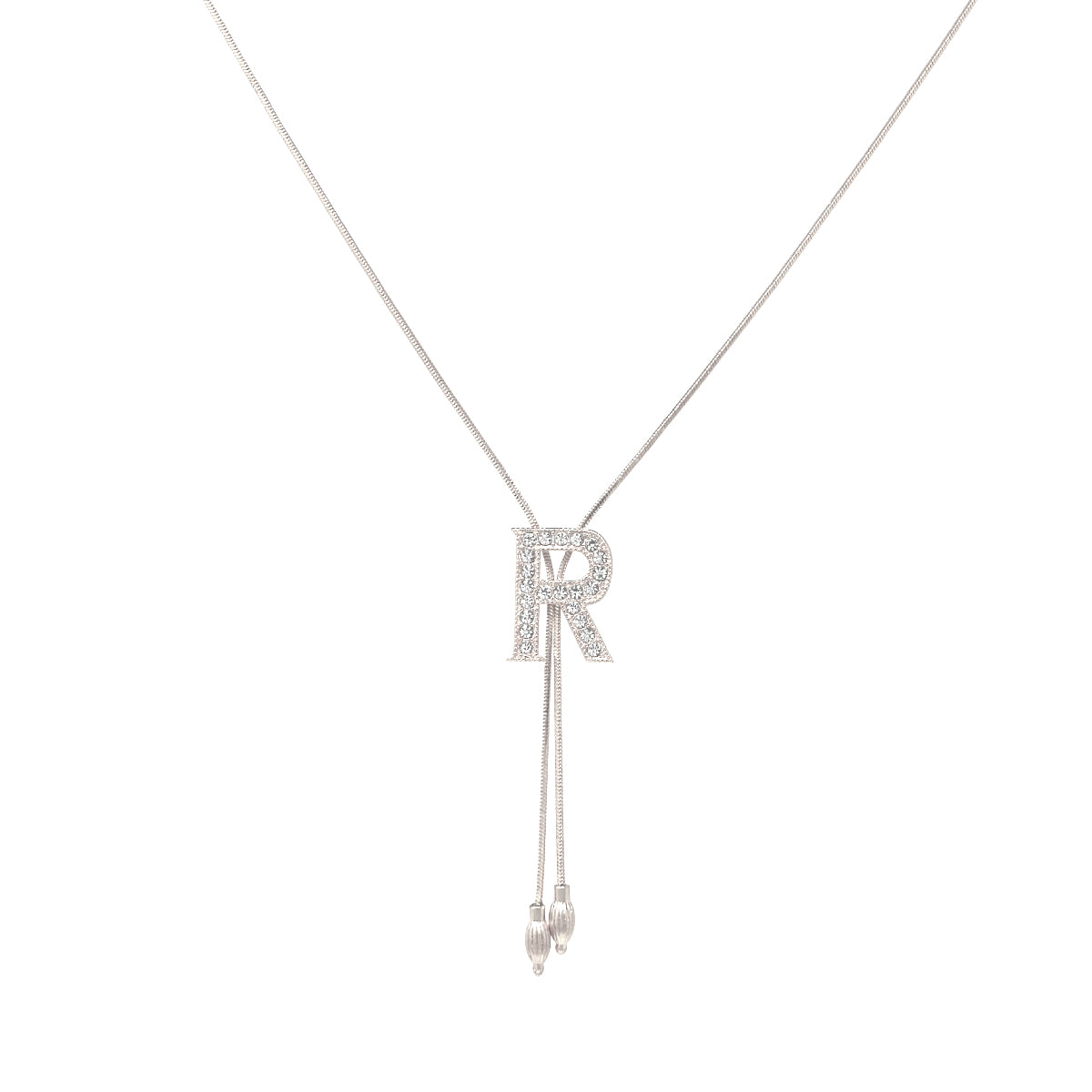 R Glass Paved Sliding Initial Pendant Necklace