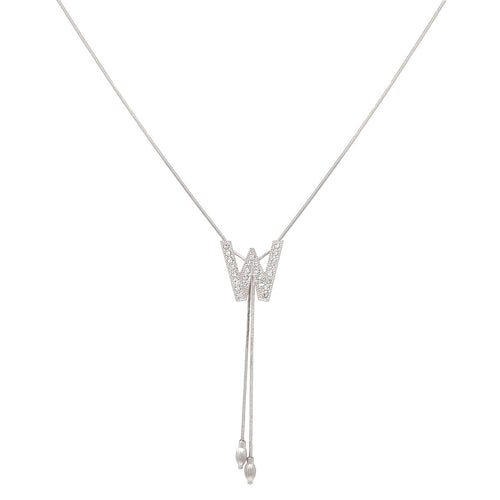 W Glass Paved Sliding Initial Pendant Necklace