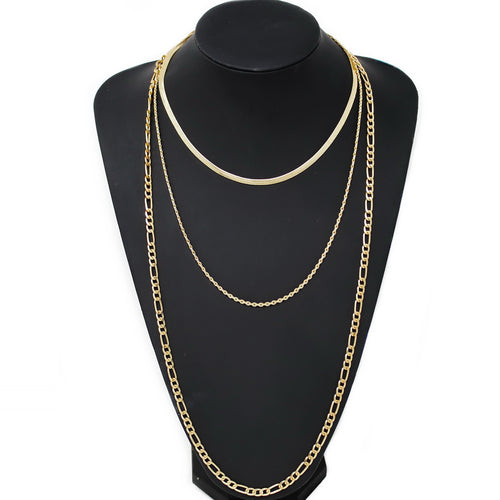 Triple Chain Layered Long Necklace