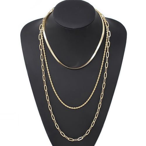 Triple Layered Metal Chain Long Necklace