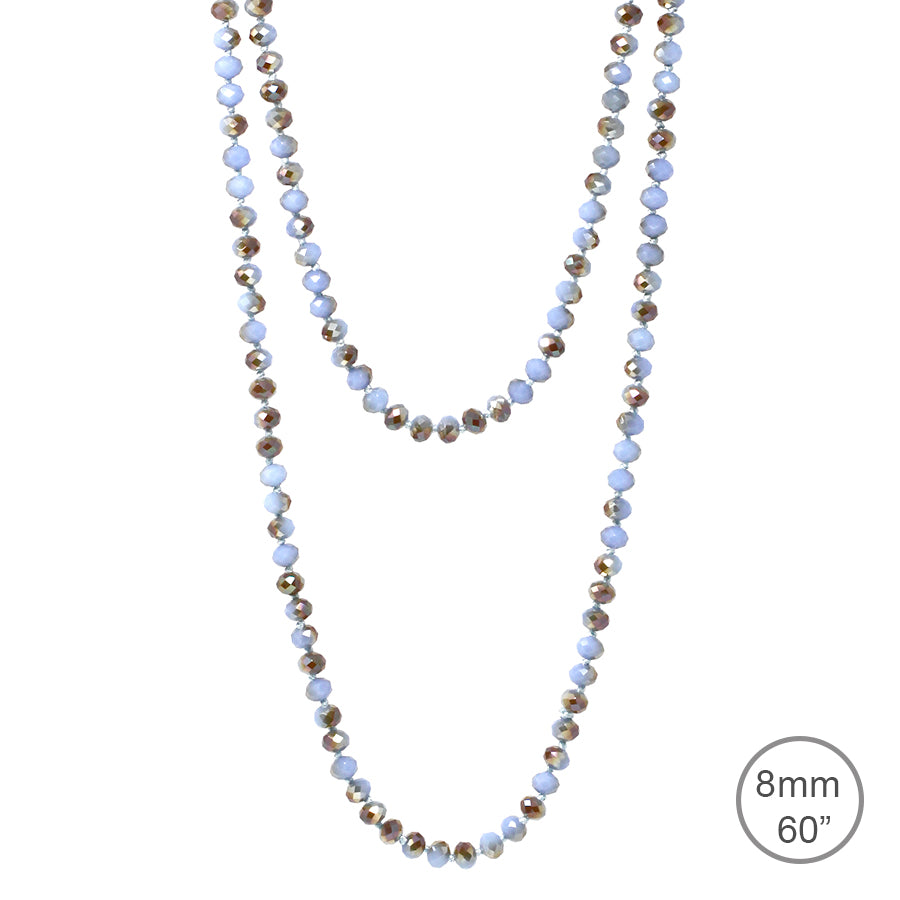 "Faceted Glass Stone Beaded Long Necklace (8mm, 60"")"