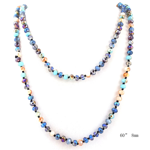 26 Colors - Multi Functional Wrappable Glass Beads 60 inch Necklace