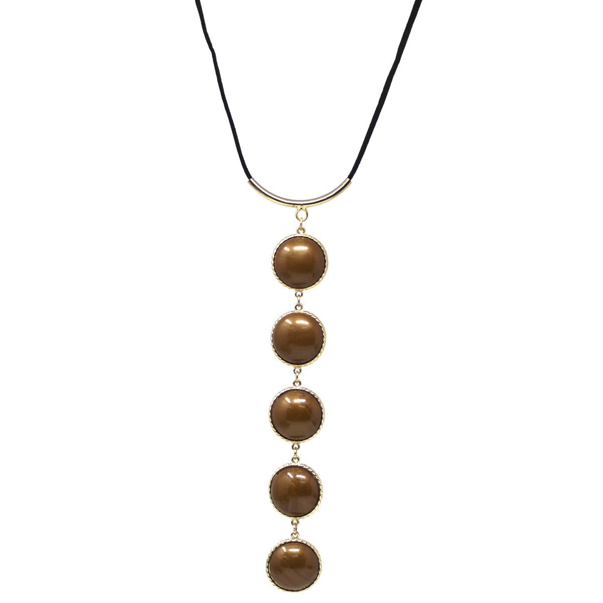 Acetate Cabochon Linear Drop Y- Necklace