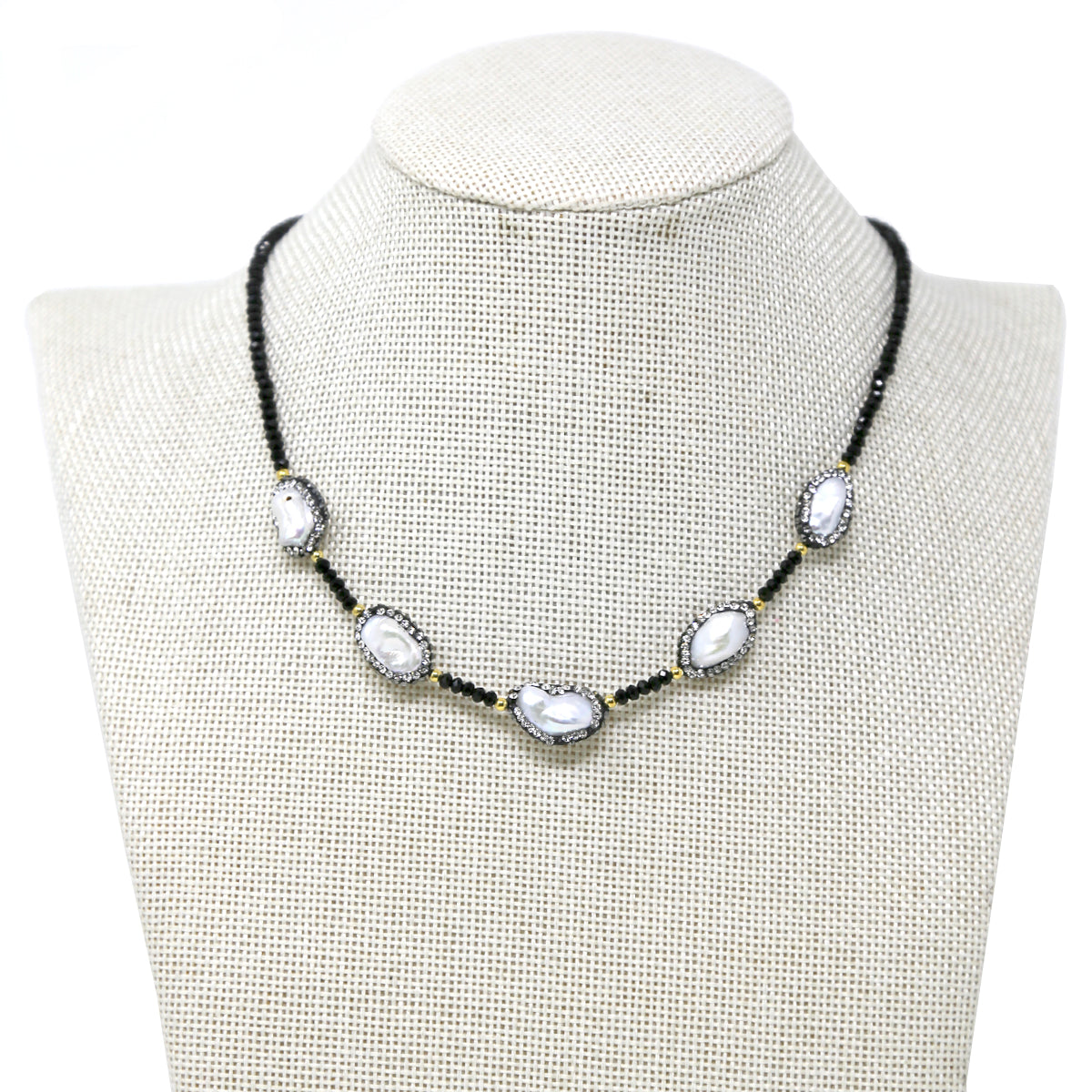 Rhinestone Pave Freshwater Pearl Glass Beaded Short Necklace
