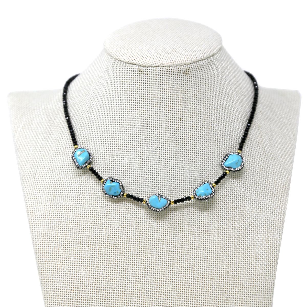 Glass Beads and Pebble Shell Collar Necklace
