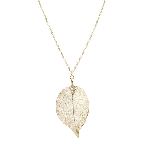 Simple pendant necklace usjewelryhouse natural texture cutout leaf pendant long necklace aloadofball Images
