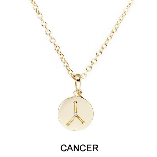 Cancer Cubic Zirconia Embellished Zodiac Pendant Necklace