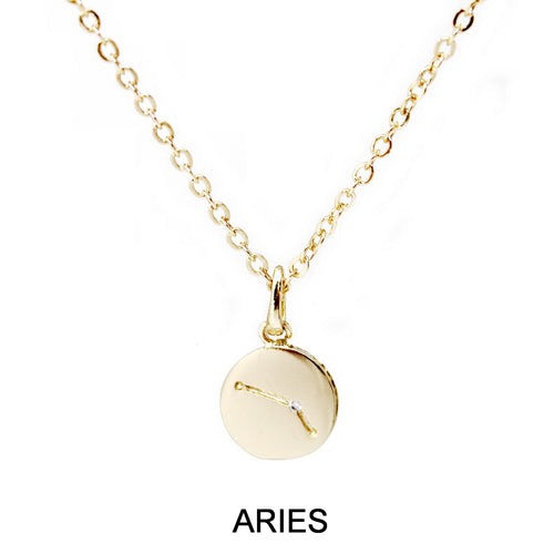 Aries Cubic Zirconia Embellished Zodiac Pendant Necklace