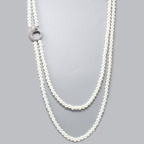 Cubic Zirconia Pave Panther With Double Layered Pearl Beaded Long Necklace