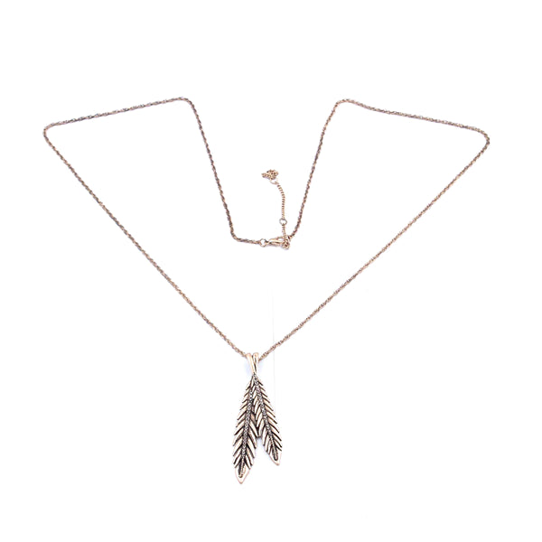 Textured Double Leaves Pendant Long Necklace