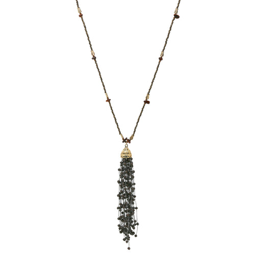 Matte Glass Beaded Tassel Drop Seed Beaded Long Necklace