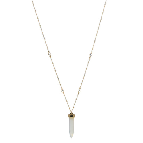 Natural Stone Bullet Pendant Floating CZ Chain Long Necklace