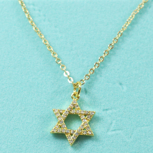CZ and Brass Star Of David Pendant Necklace