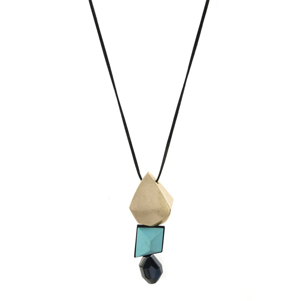 Abstract Chunk Pendant Necklace