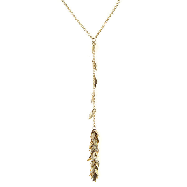 Mini Dangle Leaves Charm Y Chain Necklace