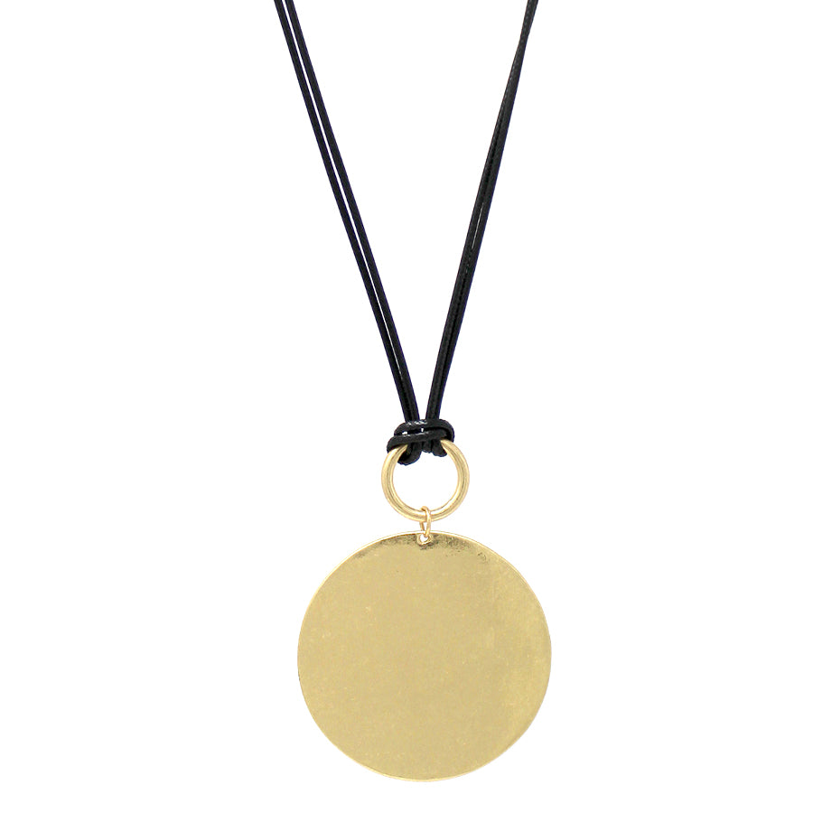 Chunky Disc Pendant With Cord Long Necklace