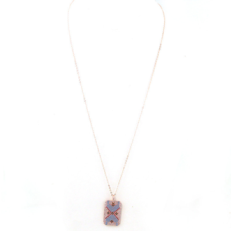 CZ and Brass Oriental Pendant Necklace