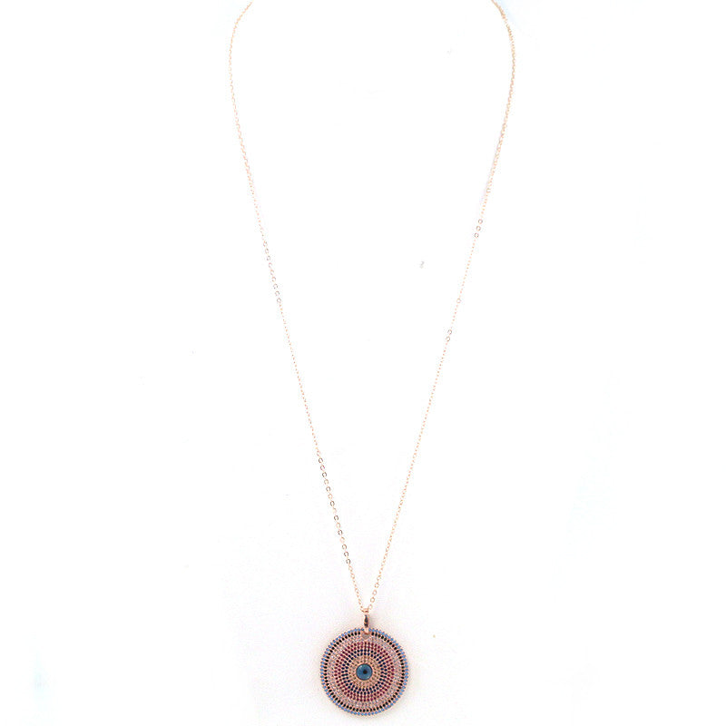 CZ and Brass Evil Eye Pendant Necklace