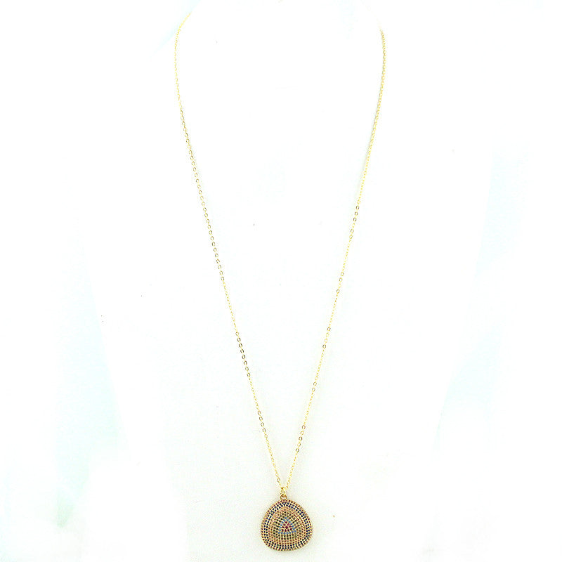 CZ and Brass Maroon Pendant Necklace