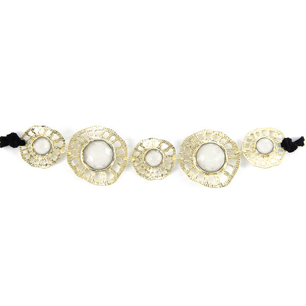Glittering Stones with Eyelet Plate Bohemian Choker