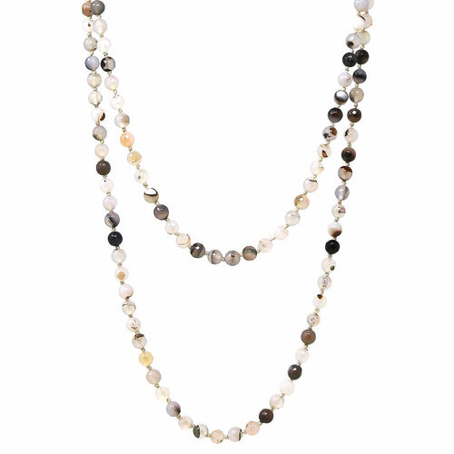 "8mm Natural Stone Beaded Long Necklace (60"")"