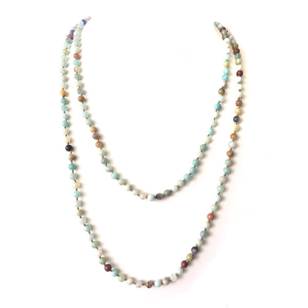Multi Functional Wrappable Semi Precious Stone 60 inch Necklace