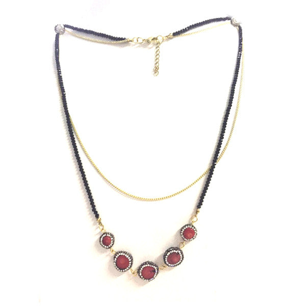 Double Layered Natural Stone Glass Beads Necklace