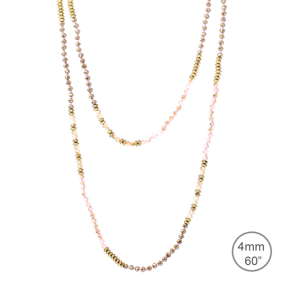 "Glass Stone With Metal Beaded Long Necklace (4mm, 60"")"