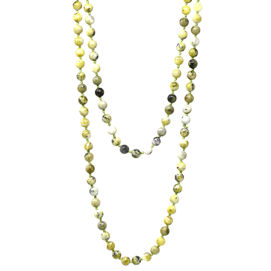 "Natural Stone Beaded Long Necklace (8mm, 60"")"