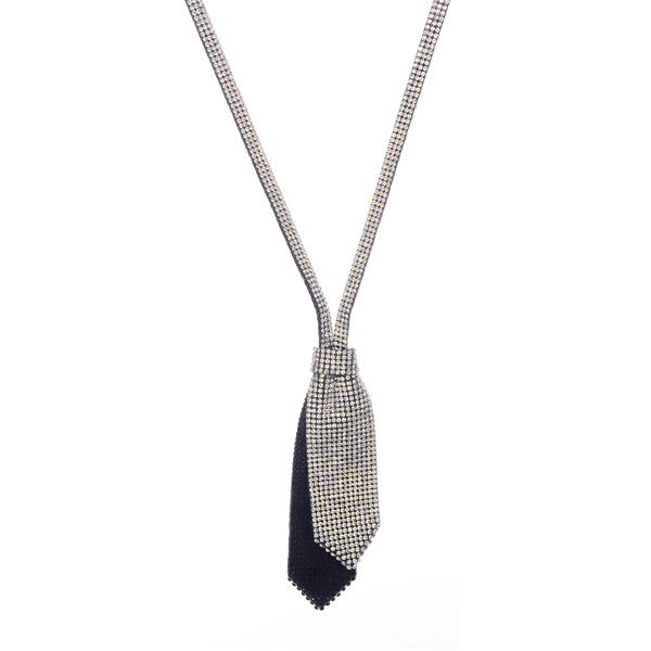 Tie Cubic Zirconia Pendant Necklace