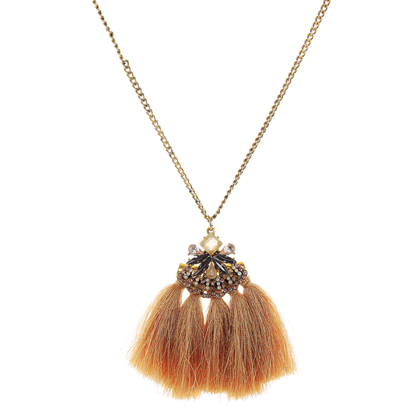 Glass Stone Thread Tassel Long Necklace